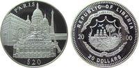 Liberia 20 Dollars Ag Paris (Frankreich), Eiffelturm etc., etwas fleckig, feine Handlingsmarken