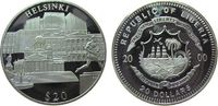 Liberia 20 Dollars Ag Helsinki (Finnland), etwas fleckig, feine Handlingsmarken