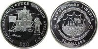 Liberia 20 Dollars Ag Apollo XVI, Astronaut, Flagge und Landefähre, etwas fleckig, feine Handlingsm