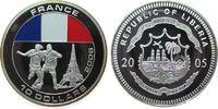 Liberia 10 Dollar -- Fußball, zwei Spieler, Frankreich, coloriert, etwas Patina