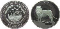 Liberia 20 Dollars Ag Löwe, minimal fleckig