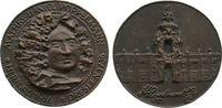 vor 1914 Medaille Bronzeguß Pöppelmann M.D., auf den Baumeister, Büste halbrechts / Zwinger, unsig
