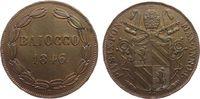 Vatikan 1 Baiocco Ku Pius IX, I R, etwas poröser Schrötling, kleine Randfehler
