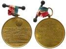 Frankreich tragbare Medaille Bronze vergoldet Paris, zur Erinnerung an den Ballonaufsteig zur Weltausstellung