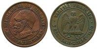Frankreich Spottmedaille Bronze Napoleon III - satyrische Medaille, Napoleon mit Pickelhaube und Halseise