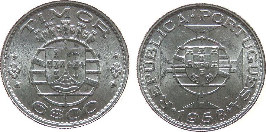 6 Escudos 1958 Timor Ag . unz
