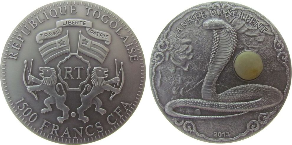 1500 Francs 2013 Togo Ag Jahr der Schlange, mit Bernstein, CFA, ohne Etui, ohne Zertifikat, 2oz / .999 stgl