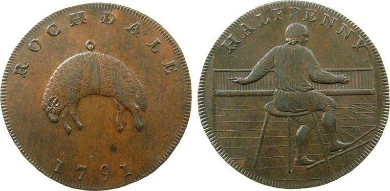 1/2 Penny 1791 Großbritannien Ku Rochdale, Webstuhl/Schaf,Randschrift/edge: payable at at the warehouse of Iohn Kershaw,Durchmesser / Diameter: 31 MM, Token unz