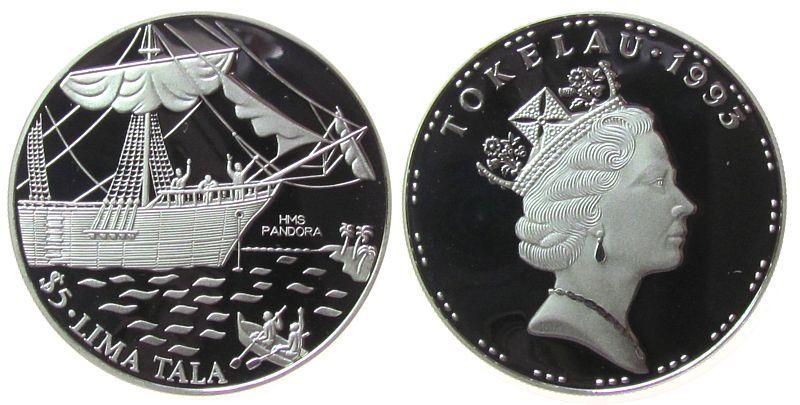 5 Tala 1993 Tokelau Ag Segelschiff Pandora pp