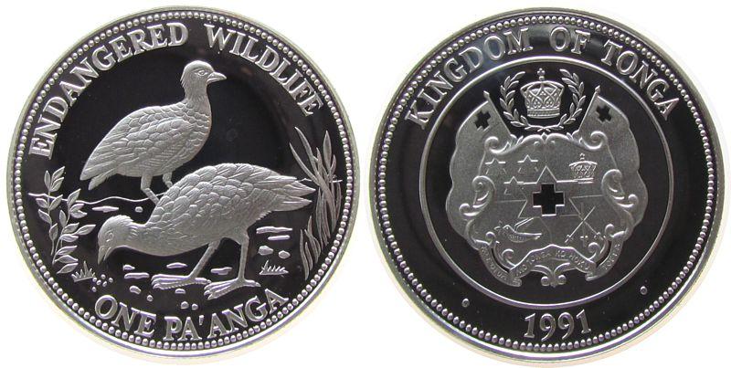 1 Paanga 1991 Tonga Ag Dschungelhühner pp