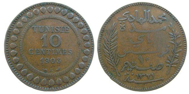 10 Centimes 1903 Tunesien Franz. Br Mohamed El Hadi, Bey (1902-1906), Gad.68 ss-