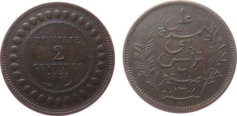 2 Centimes 1891 Tunesien Franz. Br Ali Bey (1882-1902), Gad.60 vz