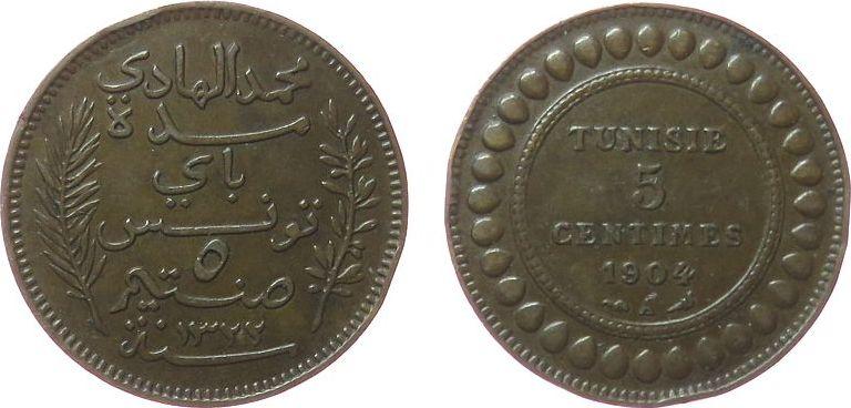 5 Centimes 1904 Tunesien Franz. Br Mohamed El Hadi, Bey (1902-1906), Gad.68, Randstoß ss