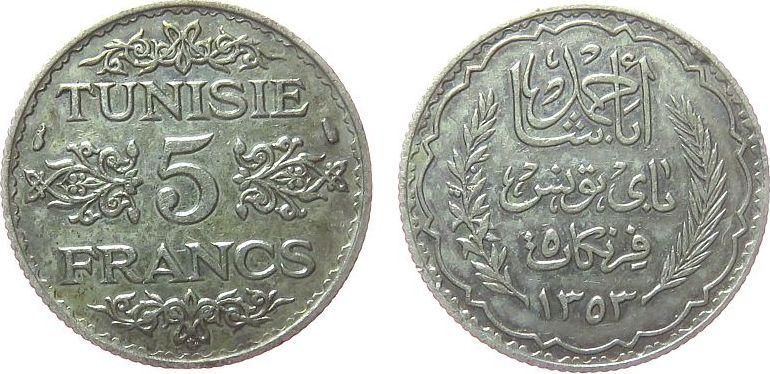 5 Francs 1934 Tunesien Franz. Ag Ahmed, Bey (1929-1942), AH1353 vz