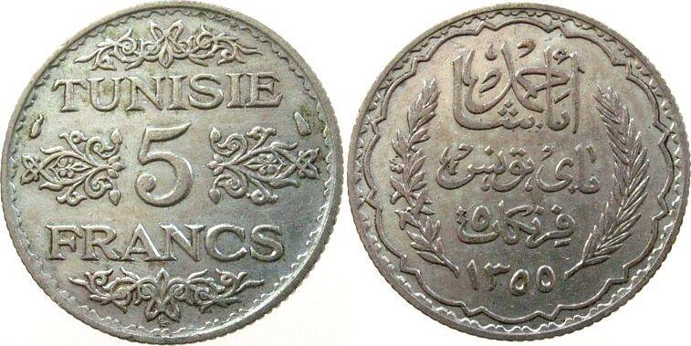 5 Francs 1936 Tunesien Franz. Ag Ahmed, Bey (1929-1942),AH1355, Schön 44, Gad.94 ss-vz