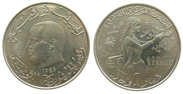 1 Dinar 1983 Tunesien KN FAO vz-unc