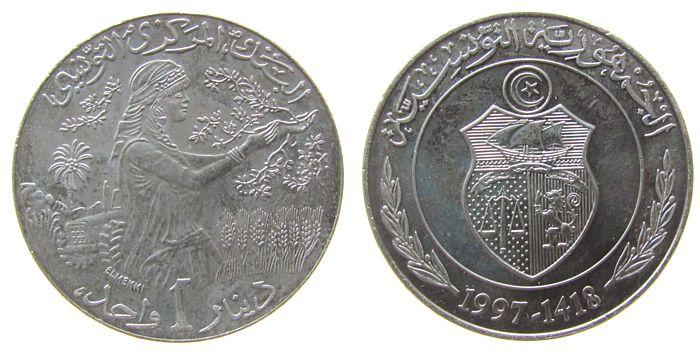1 Dinar 1997 Tunesien KN FAO unz