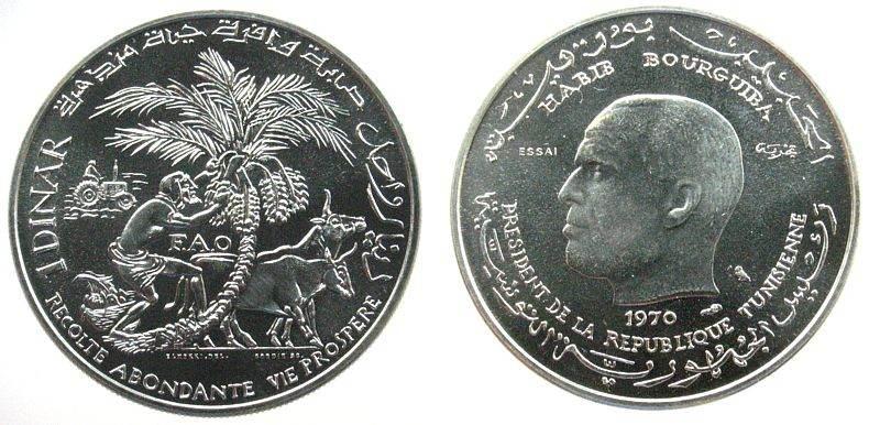 1 Dinar 1970 Tunesien Ag FAO, Dattelernte, Gad.146, ESSAI stgl