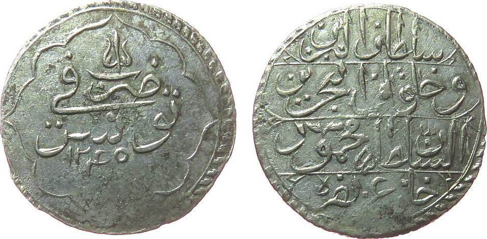 1 Piaster 1829 Tunesien Billon Mahmud II (AH1223-55), AH1245 ss