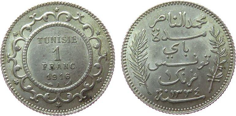 1 Franc 1916 Tunesien Franz. Ag Mohamed El-Naceur, Bey (1906-1922),Gad.86, AH1334, etwas fleckig vz+