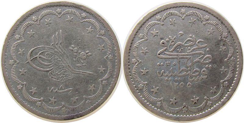 20 Kurus 1844 Türkei Ag Abdul Mejid, AH1255/6 ss