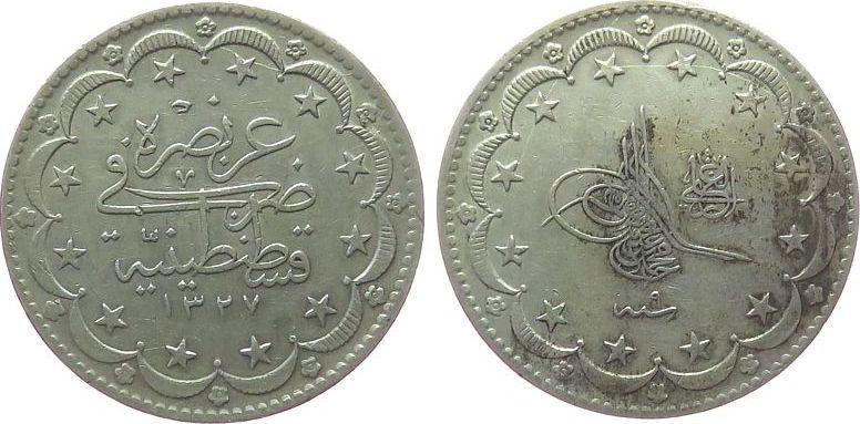 20 Kurus 1917 Türkei Ag Mohammed V (1909-18), AH1327/9 ss