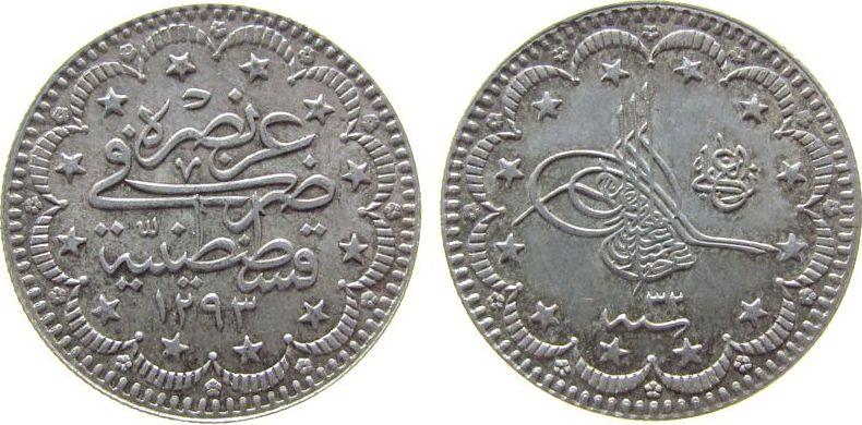 5 Kurus 1907 Türkei Ag Abdul Hamid II (1876-1909, AH1293/32 vz-unc
