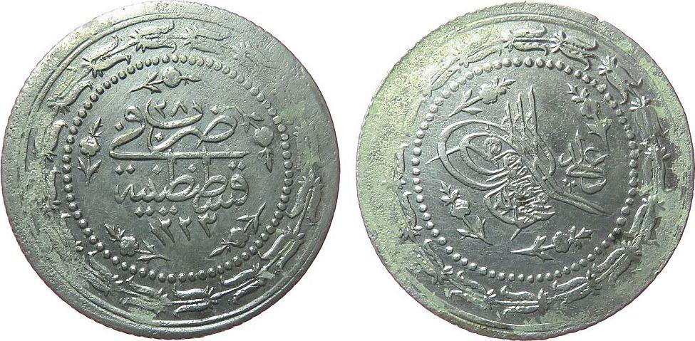 6 Kurush 1835 Türkei Billon Mahmud II, AH1223/28, Klebereste (?) fast ss
