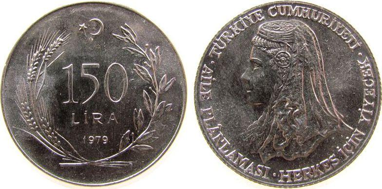 150 Lira 1979 Türkei Ag FAO, anatolische Braut vz-unc