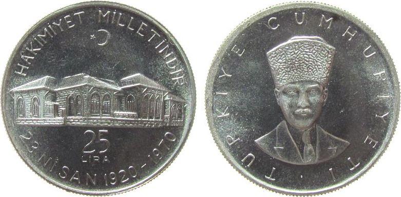 25 Lira 1970 Türkei Ag Parlamentsgebäude, kleiner Fleck unz
