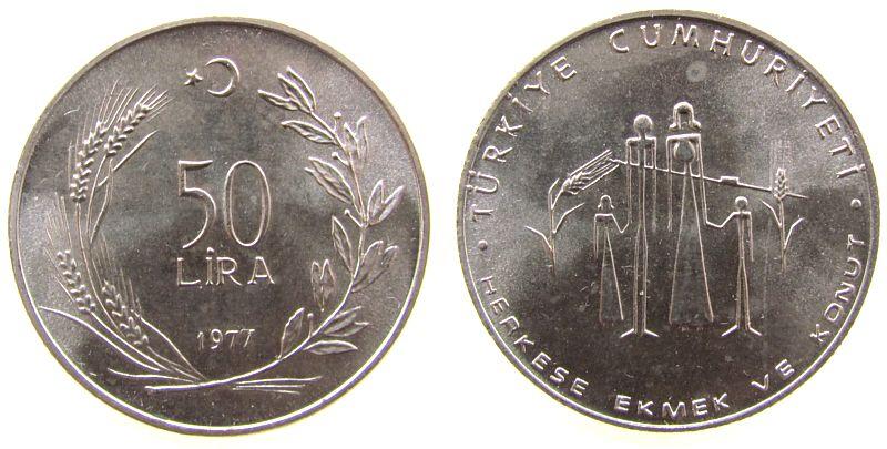 50 Lira 1977 Türkei Ag FAO - Familie vz-unc