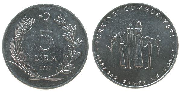 5 Lira 1977 Türkei St FAO - Familie unz