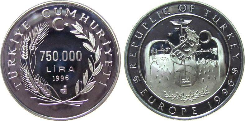 750.000 Lira 1996 Türkei Ag Türkei in Europa pp