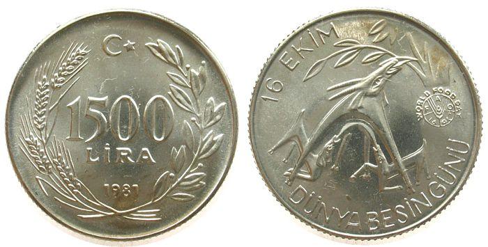 1500 Lira 1981 Türkei Ag FAO unz