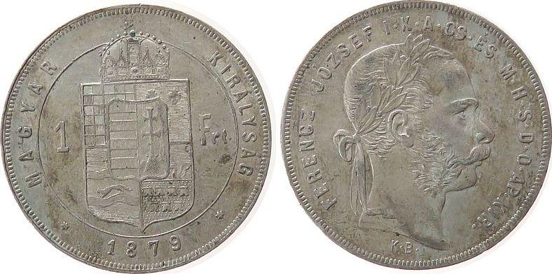 1 Forint 1879 Ungarn Ag Franz Joseph I, KB ss