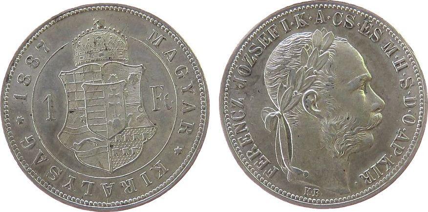1 Forint 1887 Ungarn Ag Franz Joseph I, KB, J. 359, Feilspur am Rand ss