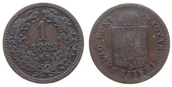 1 Kreuzer 1882 Ungarn Ku Franz Joseph I, KB schön