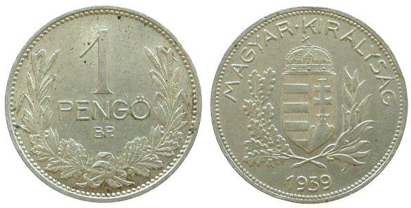 1 Pengö 1939 Ungarn Ag . vz