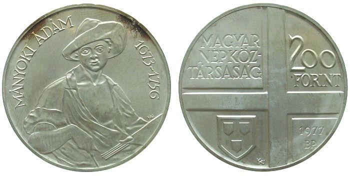 200 Forint 1977 Ungarn Ag Adam Manyoki, Maler unz