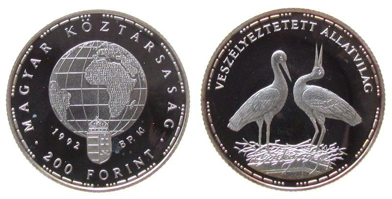200 Forint 1992 Ungarn Ag Weißstörche, Patina pp