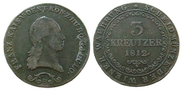 3 Kreuzer 1812 Ungarn Ku Ferdinand I, B ss
