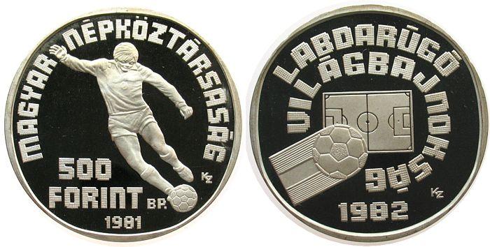 500 Forint 1981 Ungarn Ag Fußball WM in Spanien, Spieler mit Ball pp