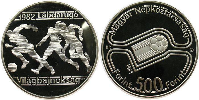 500 Forint 1981 Ungarn Ag Fußball WM in Spanien, drei Spieler pp