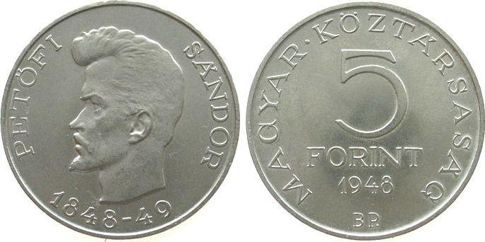 5 Forint 1948 Ungarn Ag Petofi Sandor ss