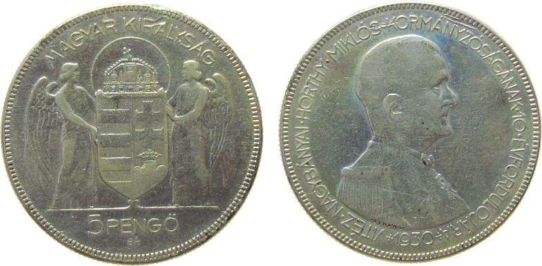 5 Pengö 1930 Ungarn Ag Horthy, kleiner Randfehler ss