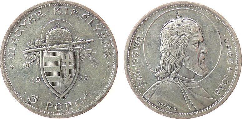 5 Pengö 1938 Ungarn Ag Stephan I, feine Kratzer vz