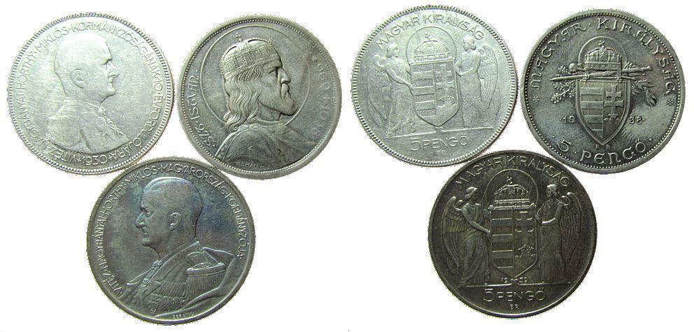 3x 5 Pengö 1930-39 Ungarn Ag Horthy und Stephan I schön-ss