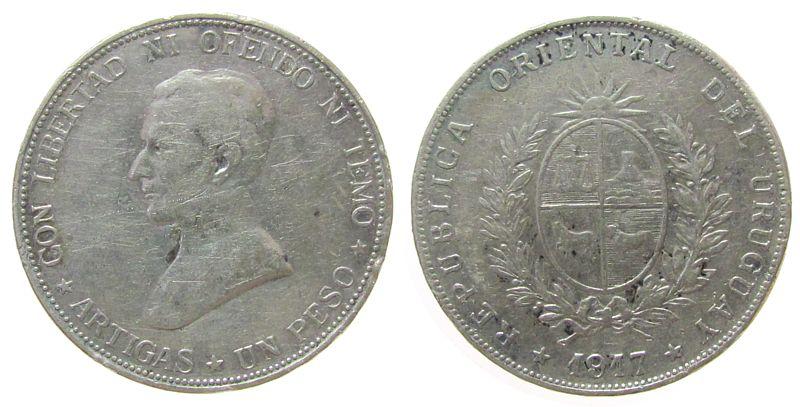 1 Peso 1917 Uruguay Ag Republik, Prüfspur am Rand fast ss