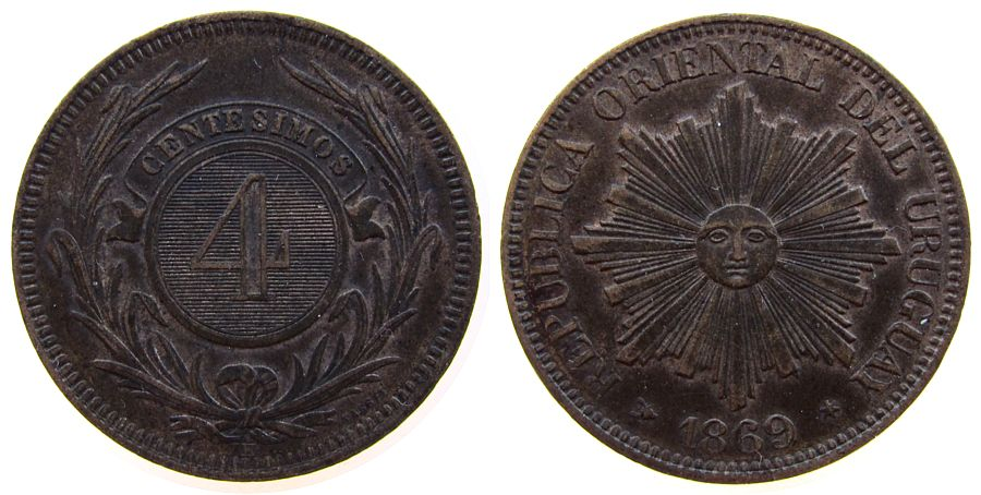 4 Centesimos 1869 Uruguay Br H fast vz
