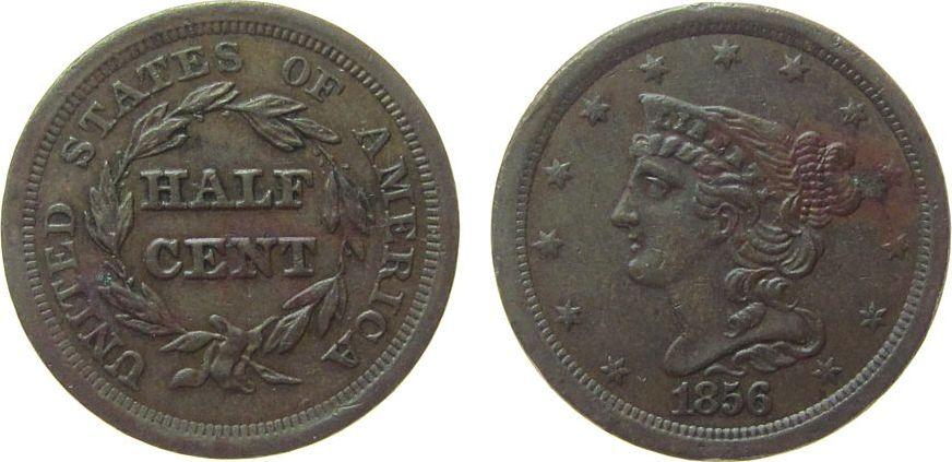 1/2 Cent 1856 USA Br Braided Hair, etwas fleckig fast vz